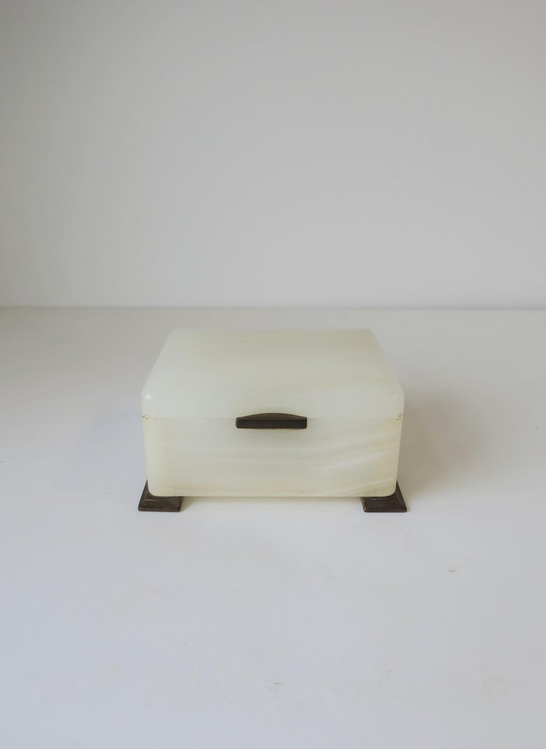 Art Deco English White Onyx Marble and Brass Jewelry Box For Sale