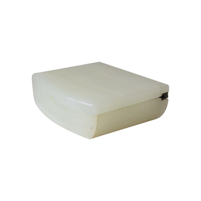 English White Onyx Marble and Brass Jewelry Box For Sale