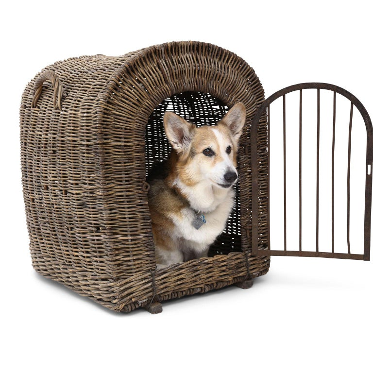 English brown wicker dog kennel or pet carrier (circa 1900-1910), rare large-scale and in good condition. Forged iron door and latch loop. Door opening measures: 18.5 inches high x 12.5 inches wide. Corgi not included.