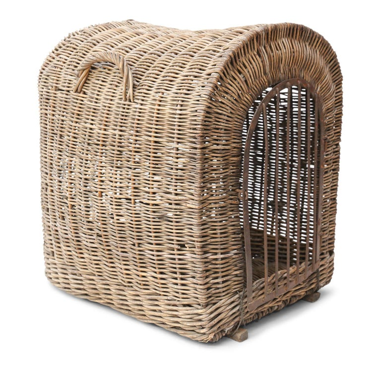 Folk Art English Brown Wicker Dog Kennel Basket For Sale