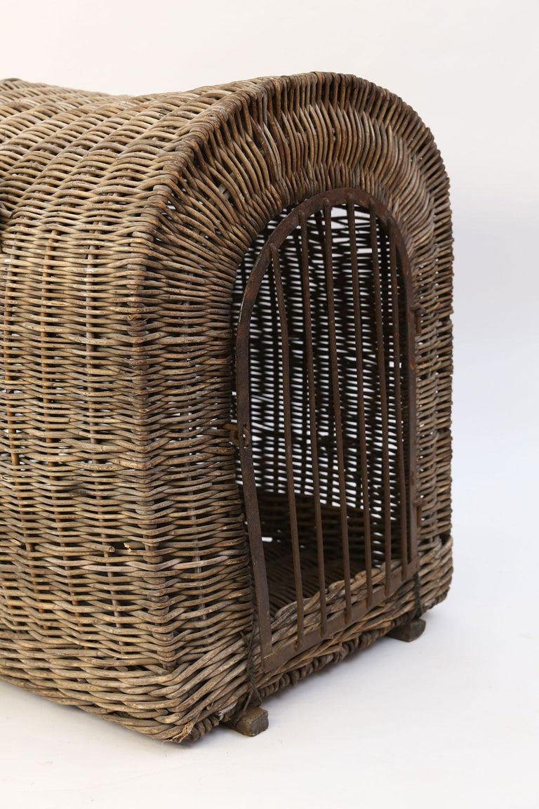 Forged English Brown Wicker Dog Kennel Basket For Sale