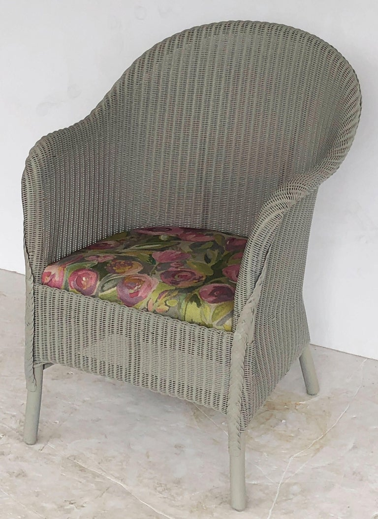 English Wicker Garden Or Lounge Chair By Lloyd Loom For