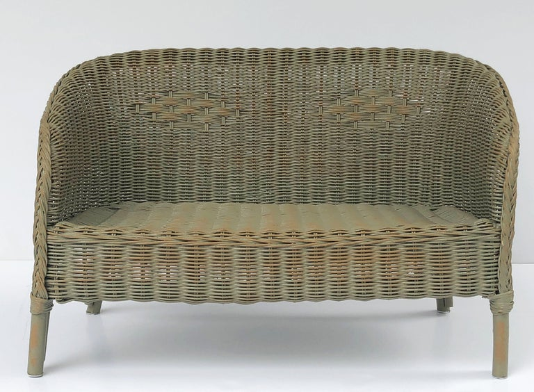 English Wicker Garden Child S Settee Bench Or Seat By