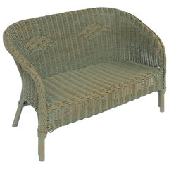 English Wicker Garden Child's Settee Bench or Seat by Lloyd Loom