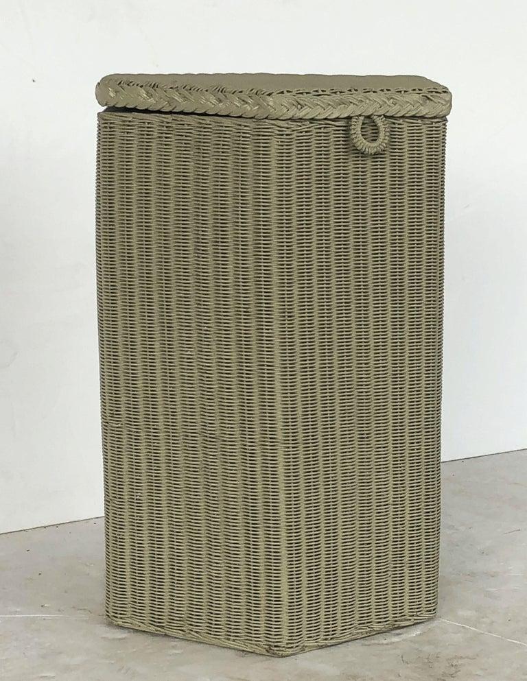 Wire English Wicker Garden Hexagonal Linen Hamper by Lloyd Loom For Sale