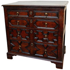 English William and Mary Period Oak Paneled Chest of Four Drawers