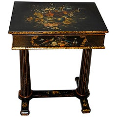 English William IV Black Lacquered Hand Painted Dressing Table Pedestal Base