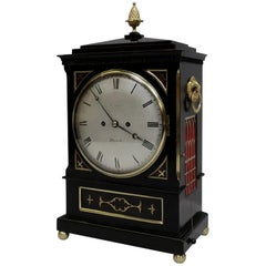 English William IV Ebonised and Brass Inlaid Bracket Clock by Charles Crews