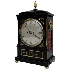 English William IV Ebonized and Brass Inlaid Bracket Clock by Charles Crews