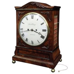 English William IV Figured Mahogany Bracket Clock with Pull Repeat Action