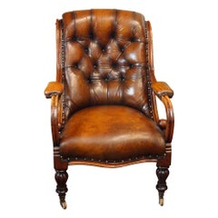 English William IV Mahogany Buttoned Leather Reading Chair, 19th Century