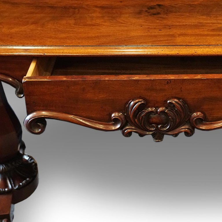 Mid-19th Century English William IV Mahogany Gentlemans Country House Library Table, circa 1830 For Sale