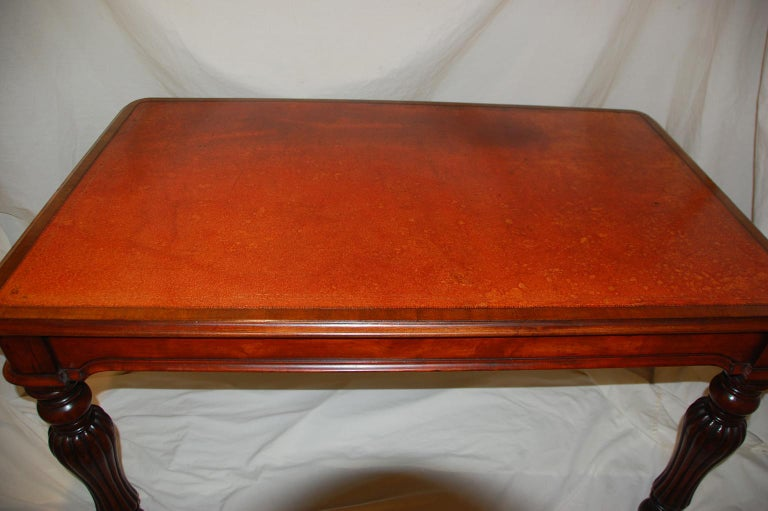 English William IV Mahogany Leather Top Writing Table In Good Condition For Sale In Wells, ME