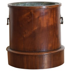 English William IV Period Mahogany Cylindrical Tole Lined Planter