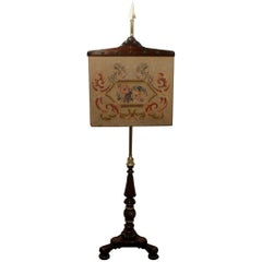 English William IV Rosewood Pole Screen with Tapestry