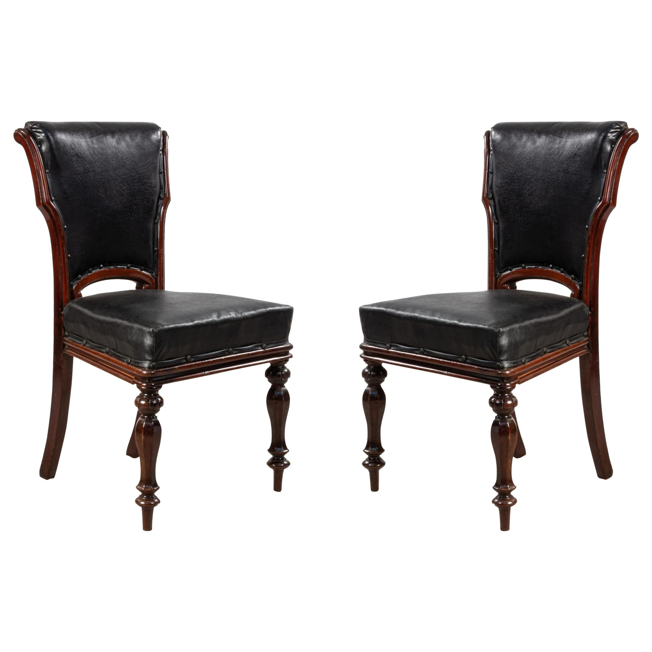 English William IV Style Walnut and Black Leather Dining Chairs