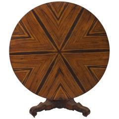 English William IV Zebra Wood Center Table