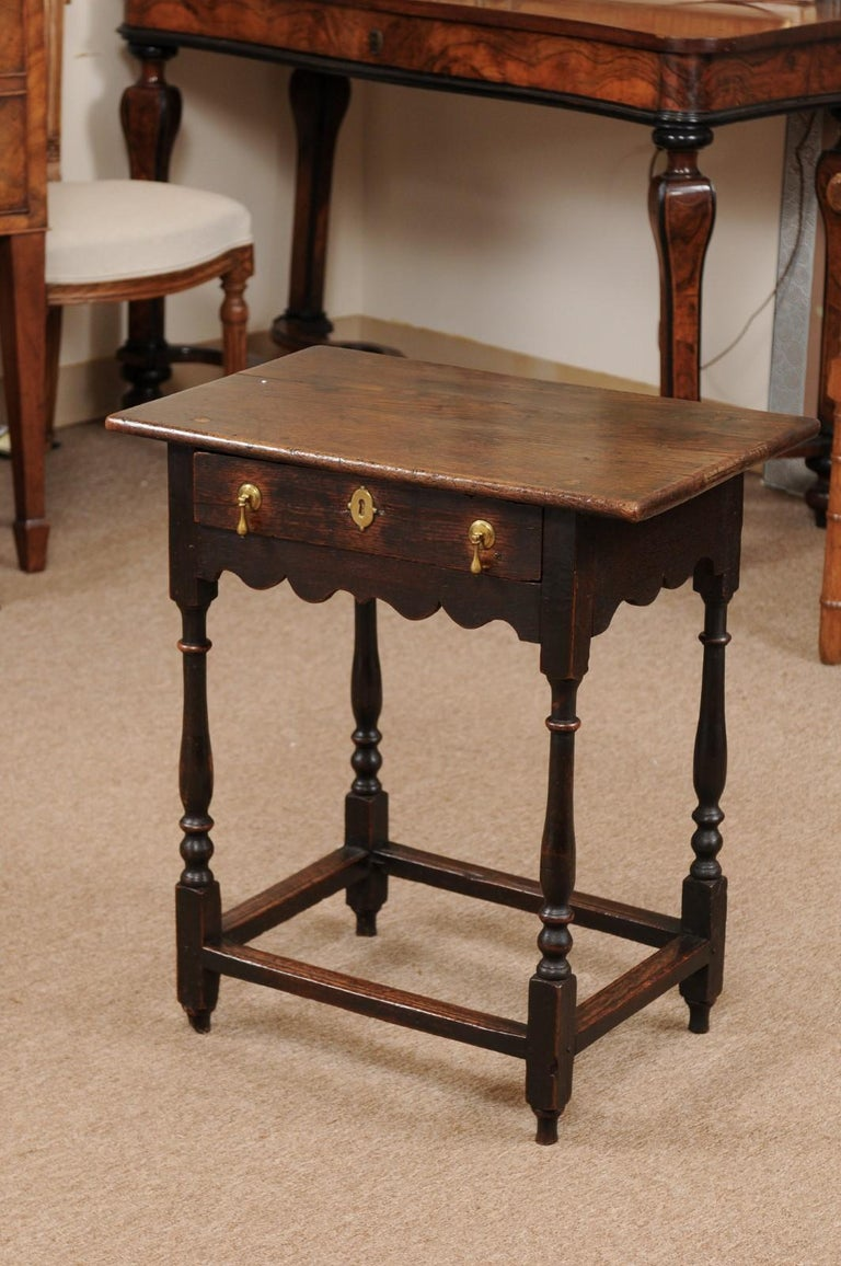 English William & Mary Style Oak Side Table, Late 18th Century For Sale 5