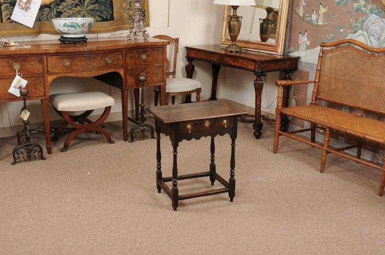 William and Mary English William & Mary Style Oak Side Table, Late 18th Century For Sale
