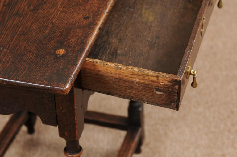 Brass English William & Mary Style Oak Side Table, Late 18th Century For Sale