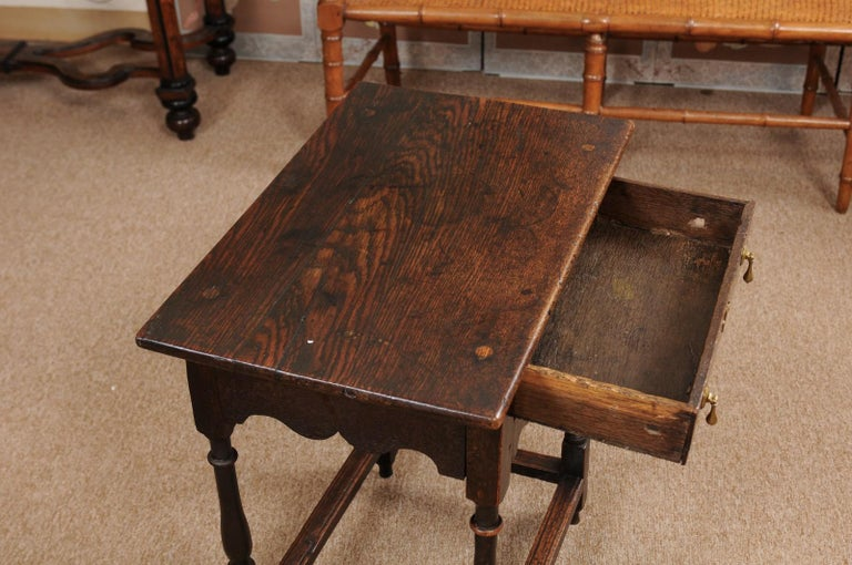 English William & Mary Style Oak Side Table, Late 18th Century For Sale 1