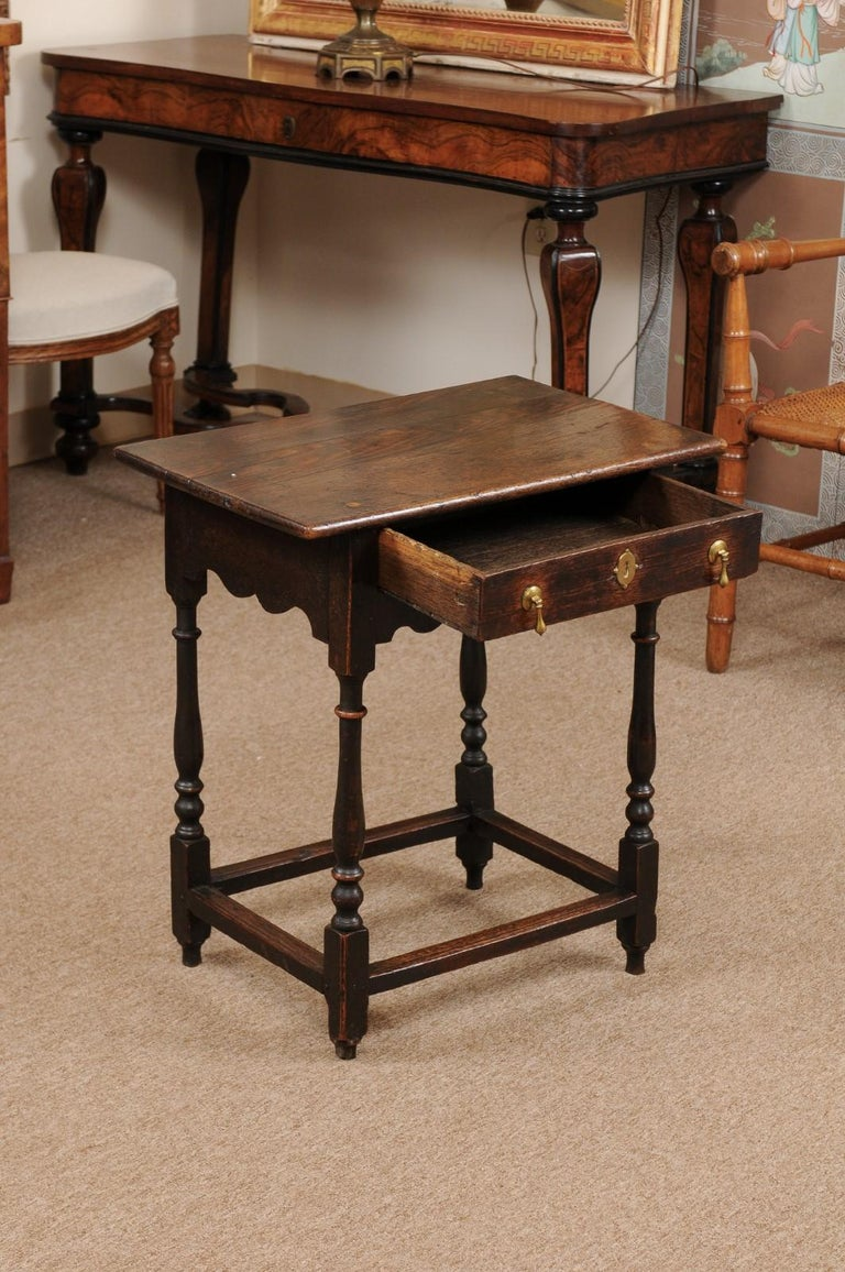English William & Mary Style Oak Side Table, Late 18th Century For Sale 2