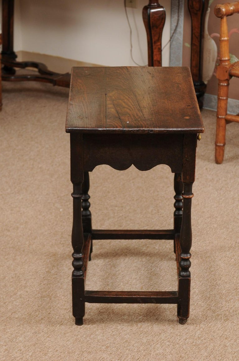 English William & Mary Style Oak Side Table, Late 18th Century For Sale 3