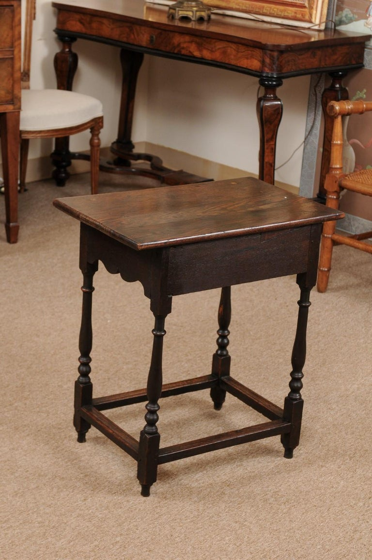 English William & Mary Style Oak Side Table, Late 18th Century For Sale 4