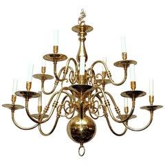 English Williamsburg Style Twelve-Light Brass Chandelier