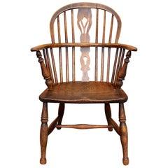English Windsor Armchair Desk Chair Carved Elm Ash Stickback