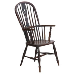 English Windsor Elm and Yew Antique Armchair, circa 1830-1850