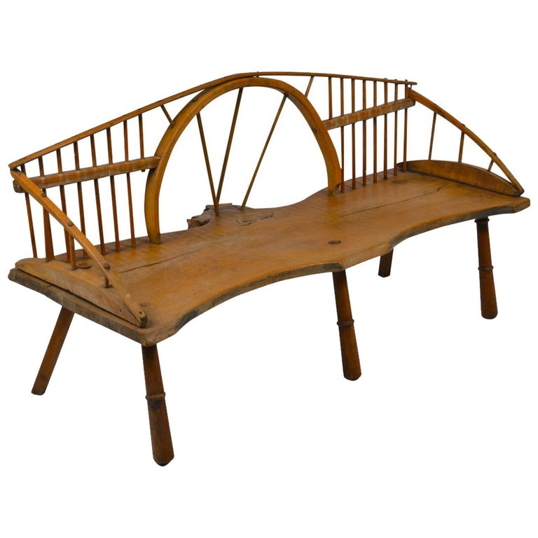 English Windsor Style Bench, circa 1890 For Sale