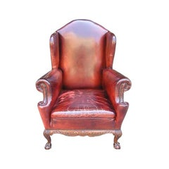 English Mahogany Leather Wing Back Chair With Acanthus Ball & Claw Feet. C .1840