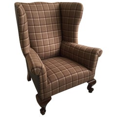 English Wingback or Library Leather and Plaid Armchair