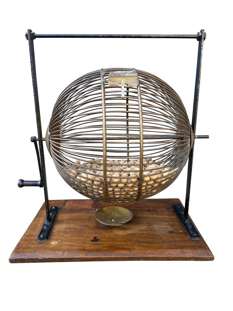 20th Century English Wood and Iron Bingo Wheel For Sale