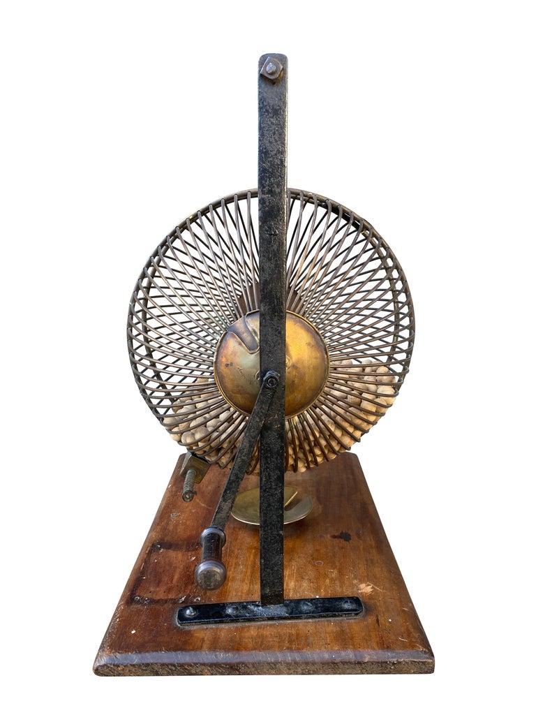 Metal English Wood and Iron Bingo Wheel For Sale