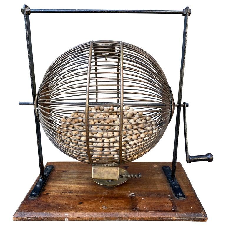 English Wood and Iron Bingo Wheel For Sale