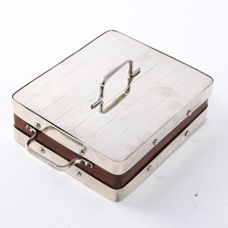 English wood and silver plate box with glass liner, circa 1930s. Please note of wear consistent with age.