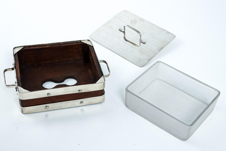 Mid-20th Century English Wood and Silver Plate Serving Box For Sale
