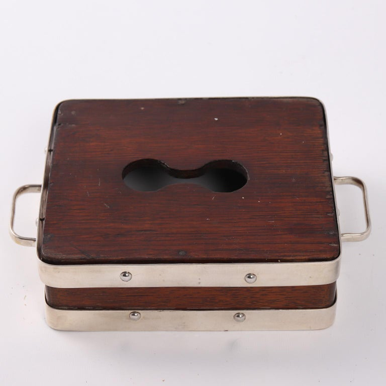 English Wood and Silver Plate Serving Box For Sale 1