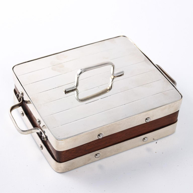 English Wood and Silver Plate Serving Box For Sale 2