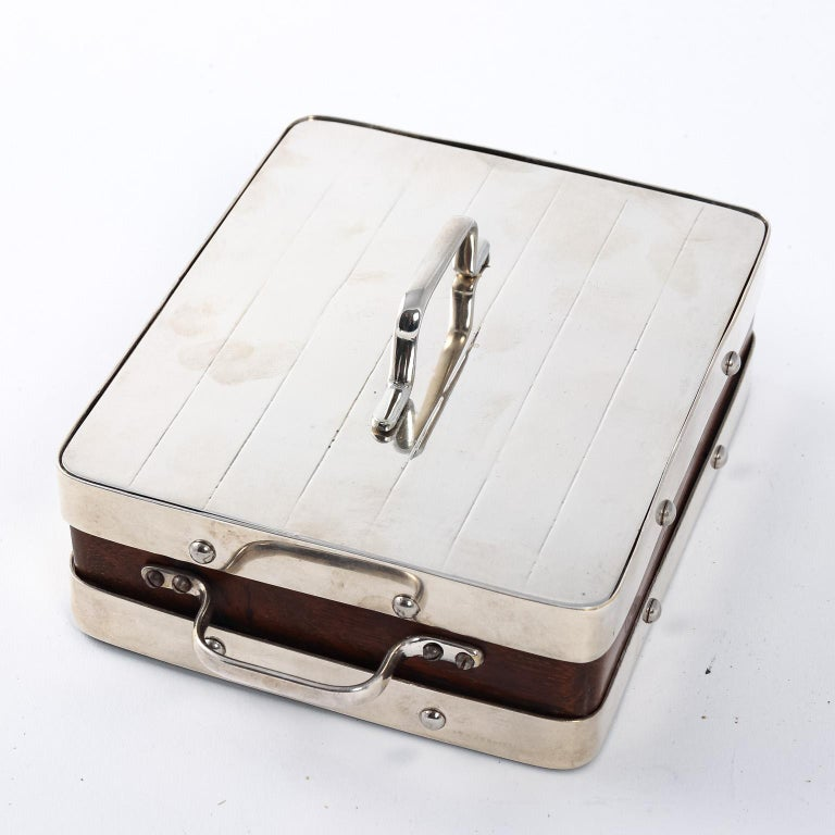 English Wood and Silver Plate Serving Box For Sale 3
