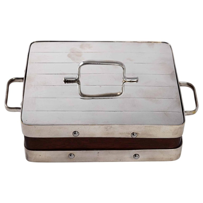English Wood and Silver Plate Serving Box For Sale