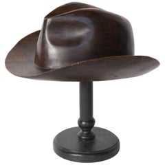 English Wood Hat Mold on Stand