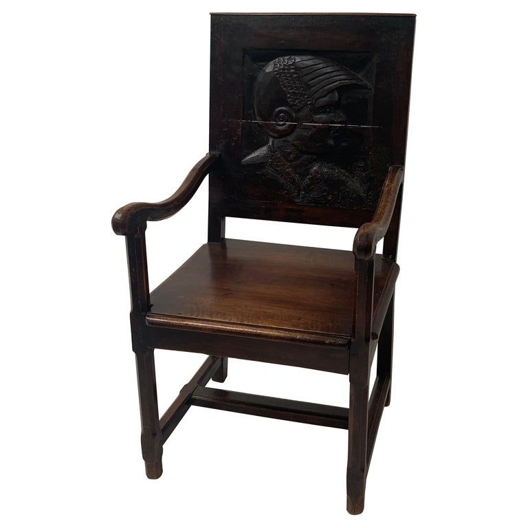 English Wooden Chair, 17th Century For Sale