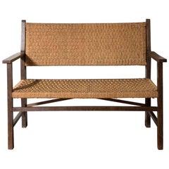 English Woven Cord Bench, circa 1930s