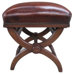 "English ""x"" Shaped Leather Bench with Adjustable Knobs"