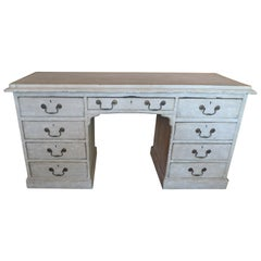 English Painted Knee-Hole Writing Desk with 9 Drawers and Original Hardware