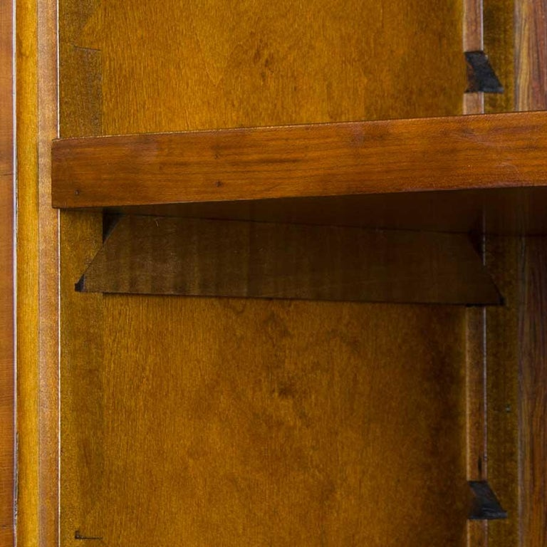 English Yew Wood Secretaire Secretary Bookcase Butlers Desk For Sale 1