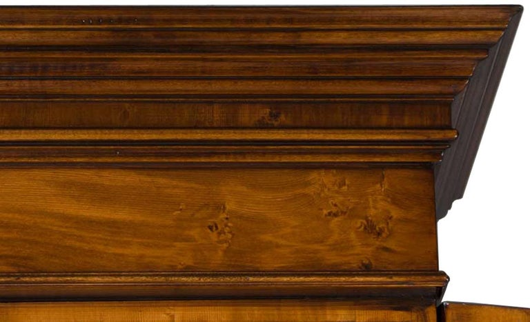 English Yew Wood Secretaire Secretary Bookcase Butlers Desk For Sale 2